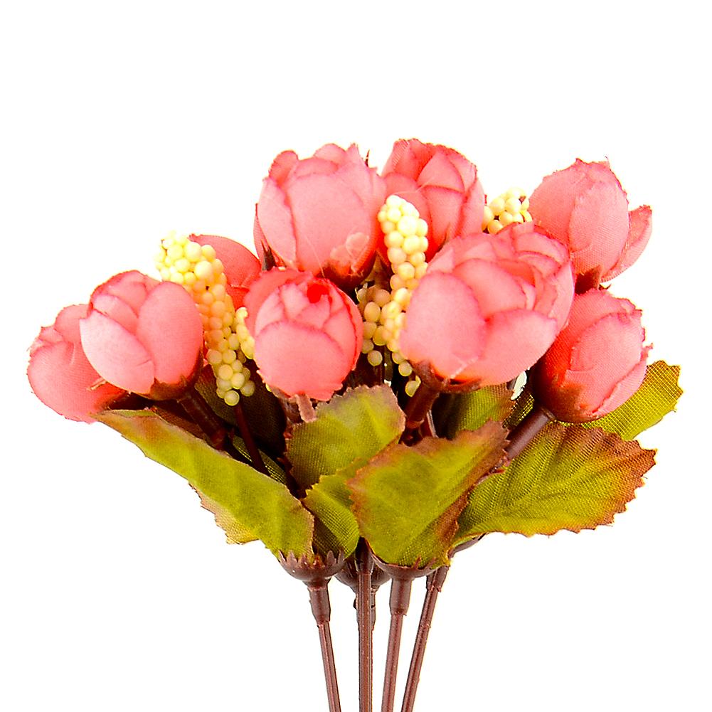 Artificial Rose Flower Bud Silk Flower Arrangement Wedding Home Garden