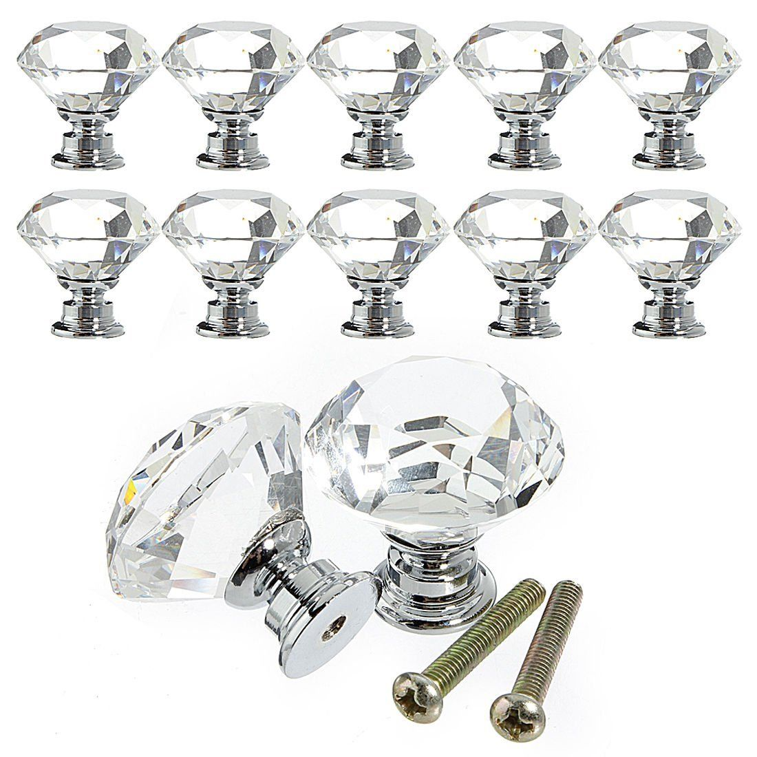 Diamond Crystal Cupboard Cabinet Dresser Drawer Wardrobe Door Knobs Handle Pull`