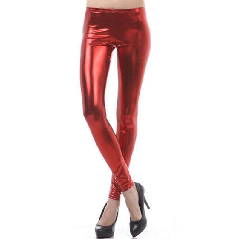 Simple WomensWetLookPULeatherStretchSkinnySexyJeansTrousersPants
