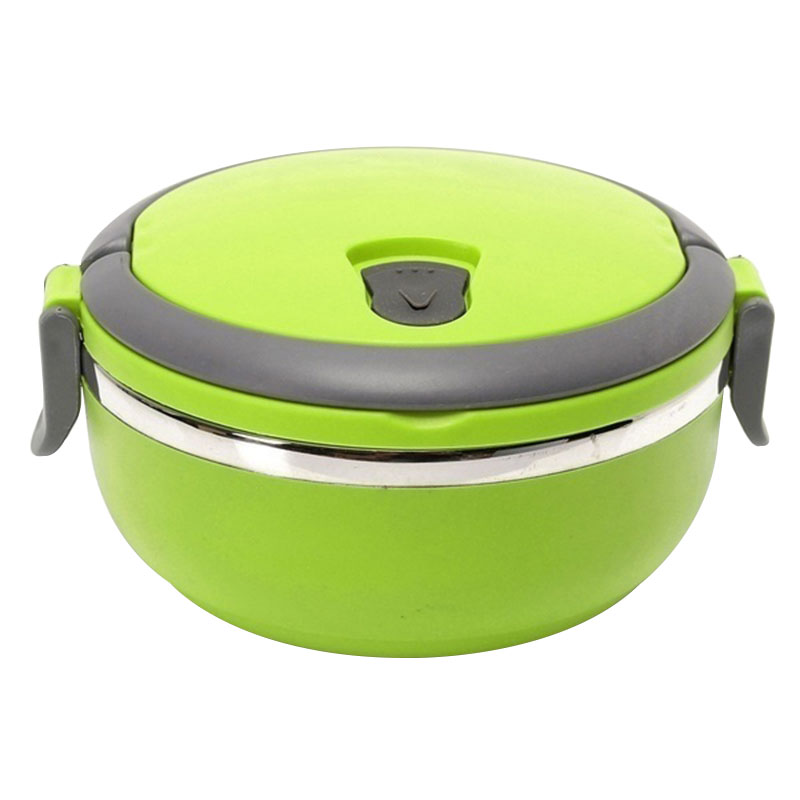 portable lunch box thermal insulated stainless steel bento food container round ebay. Black Bedroom Furniture Sets. Home Design Ideas