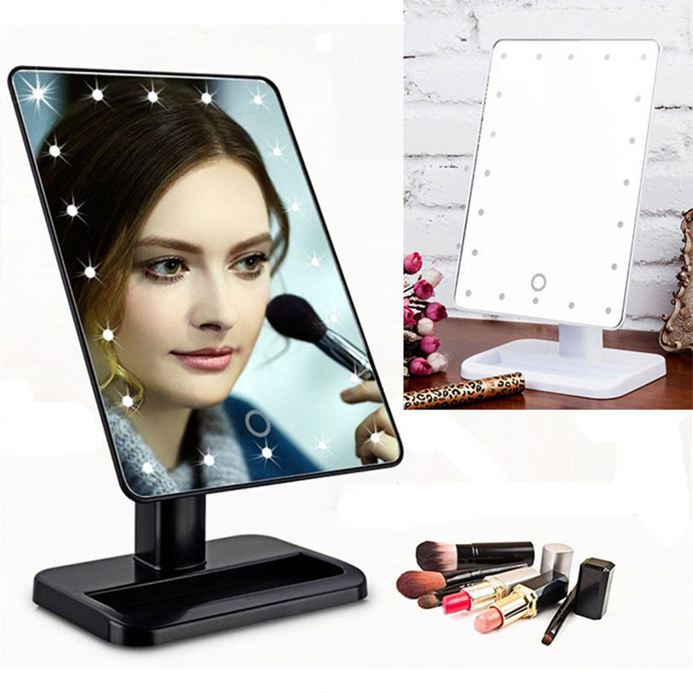 led make up mirror cosmetic folding portable compact. Black Bedroom Furniture Sets. Home Design Ideas