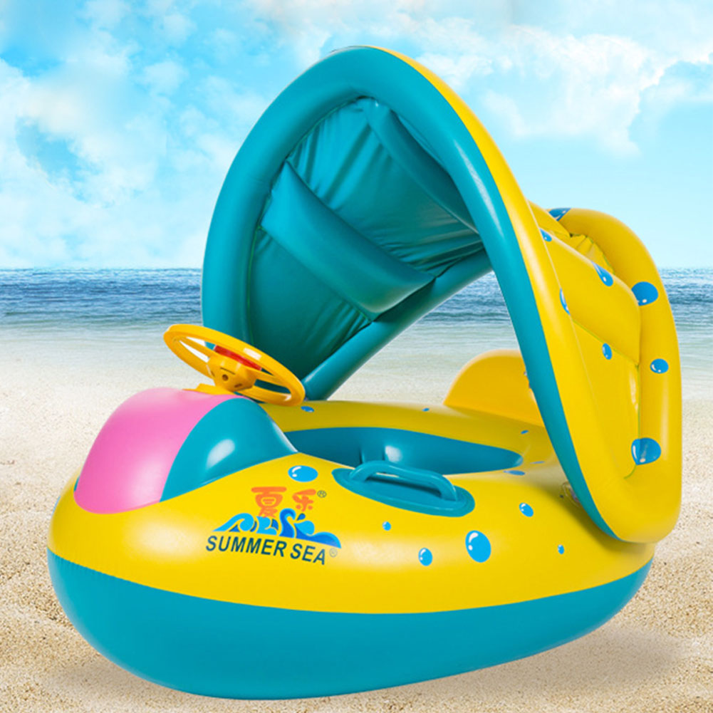 Baby infant child float seat boat swim ring swimming pool inflatable yellow ebay - Inflatable pool ...