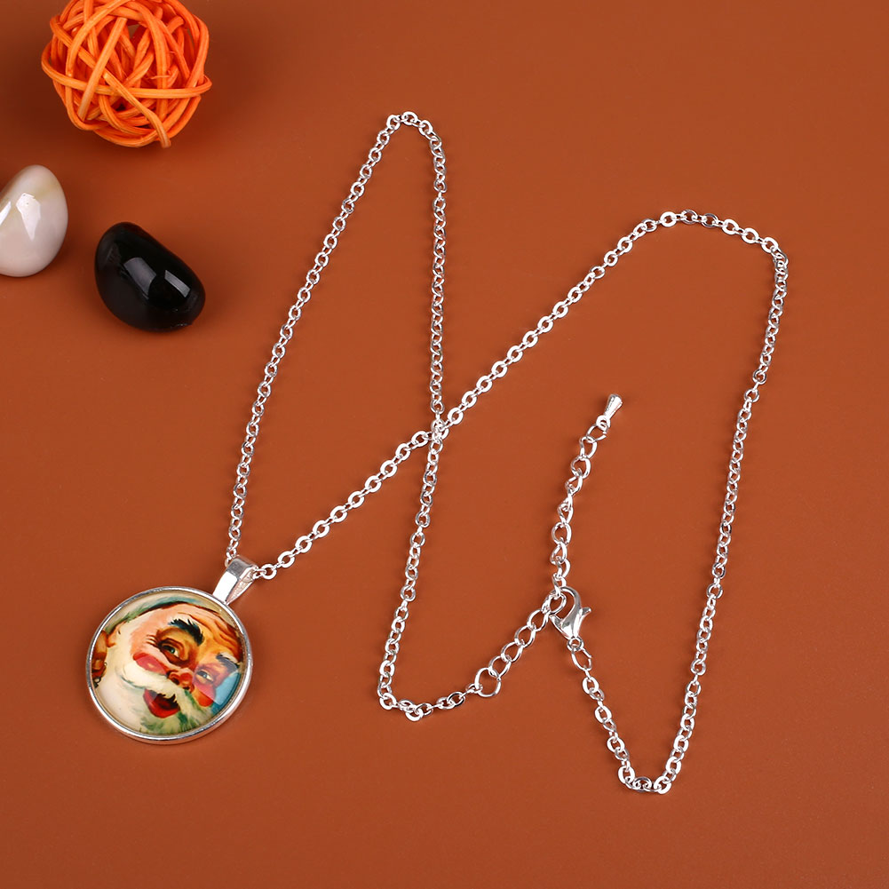 Santa claus pendant chain alloy glass cabochon necklace