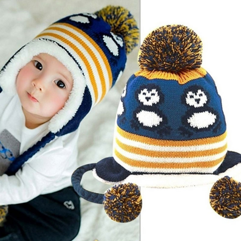 Knitting Pattern For Bobble Hat For Babies : Babies Knit Penguin Pattern Striped Ears Protected Bobble Winter Headwear Hat...