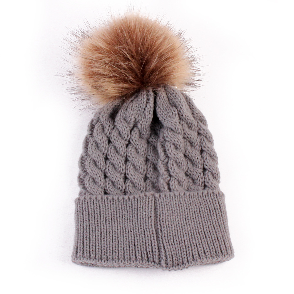Baby Boys Girls Knit Bobble Cable Pattern Korean Style Knitted Headwear Hat ...