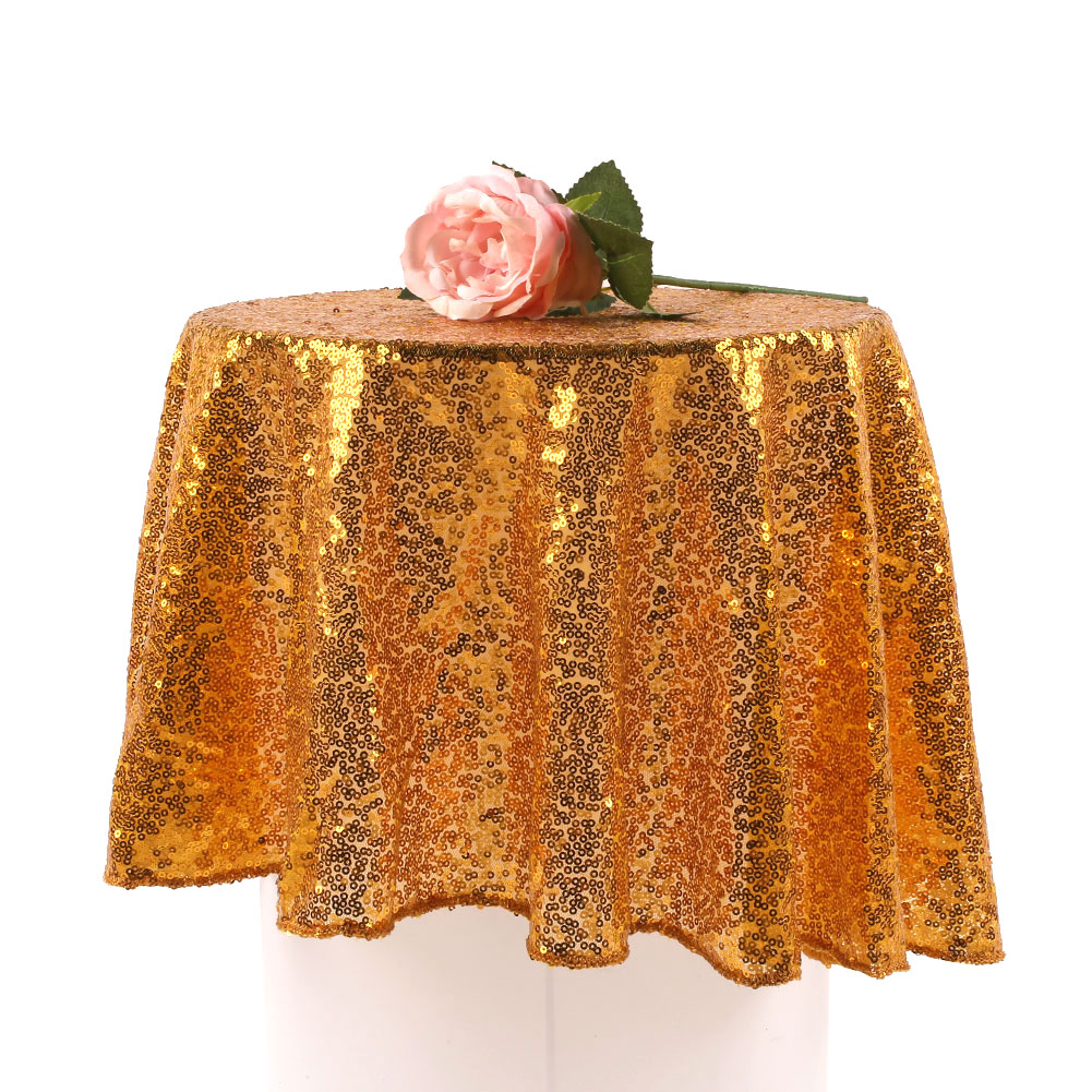 80cm Sequin Tablecloth Round Designed Gold Silver ...
