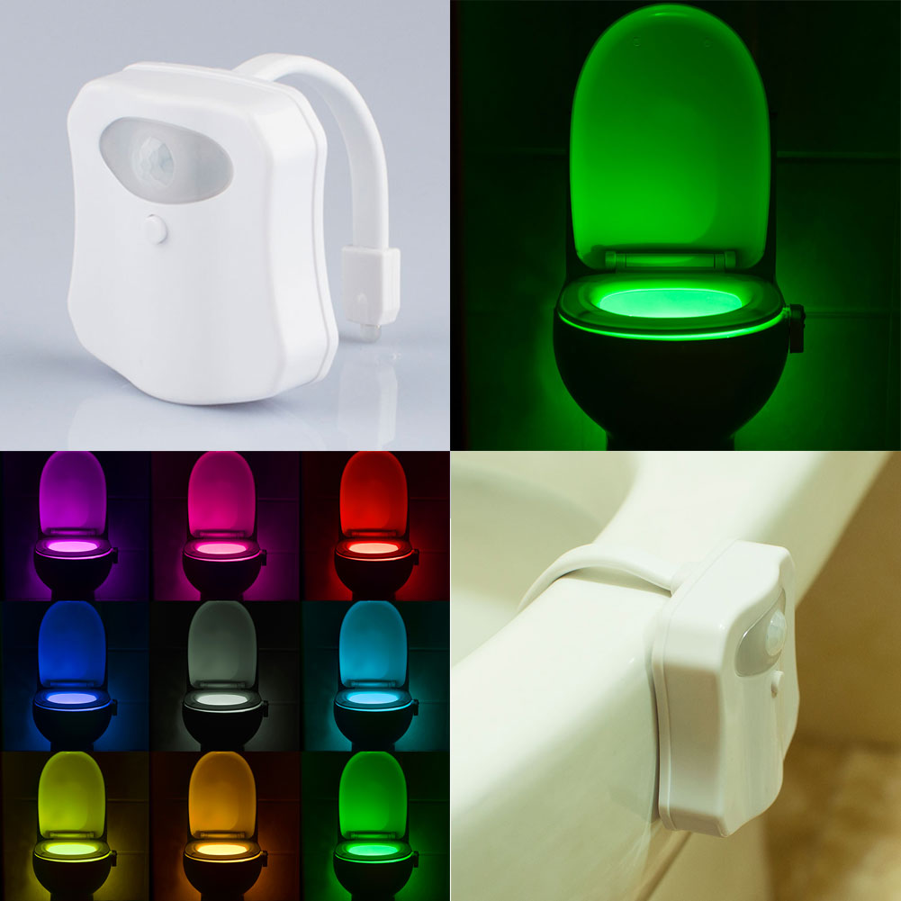 Led 9 color night light body motion sensor automatic for Bathroom night light
