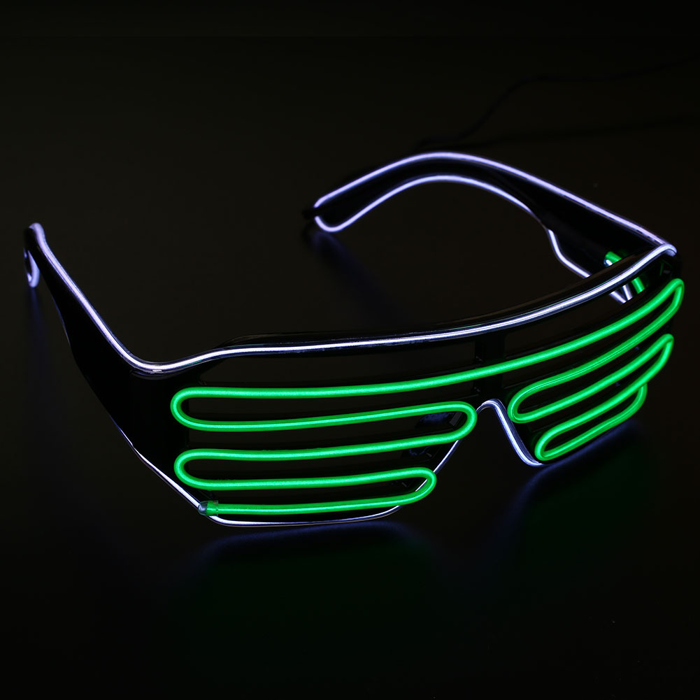 neon el wire led light double shutter glasses funny rave party sunglasses. Black Bedroom Furniture Sets. Home Design Ideas
