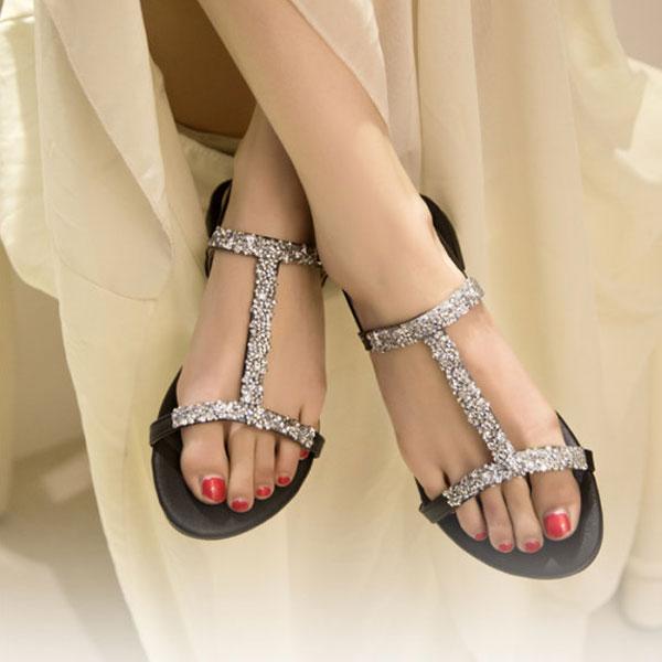 Diamond Heel Flat Shoes
