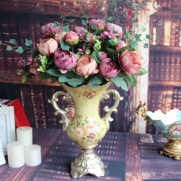 Artificial peony silk flowers bridal bouquet hydrangea for Garden accessories online