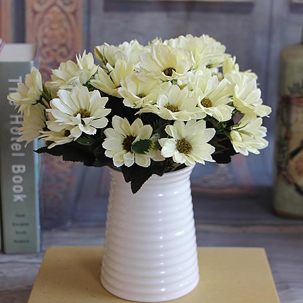 French Rose Bouquet Artificial Peony Flower Arrange Spring Daisy Wedding Decor