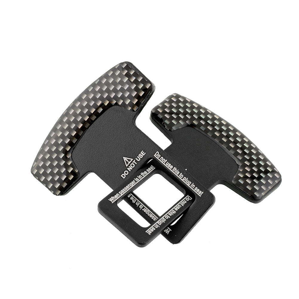 Oem 2pcs Truck Atv Carbon Fiber Safty Seat Belt Buckle Stopper Alarm Canceler Black Lazada