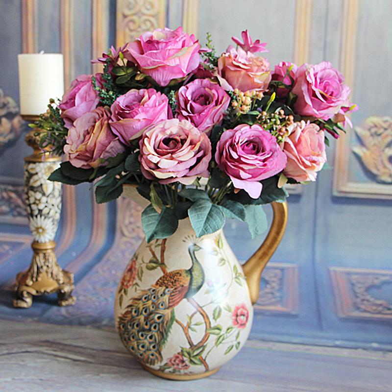 Milan Bouquet Hydrangea 11 Heads Wedding Bunch Rose Artificial Silk Flower