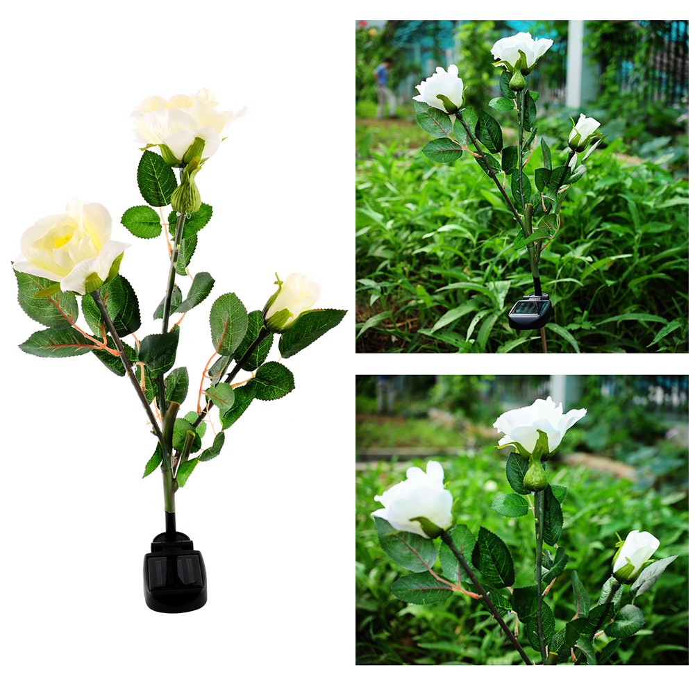 Solar powered 3 led rose flower stake garden decor light for Flower garden decorations