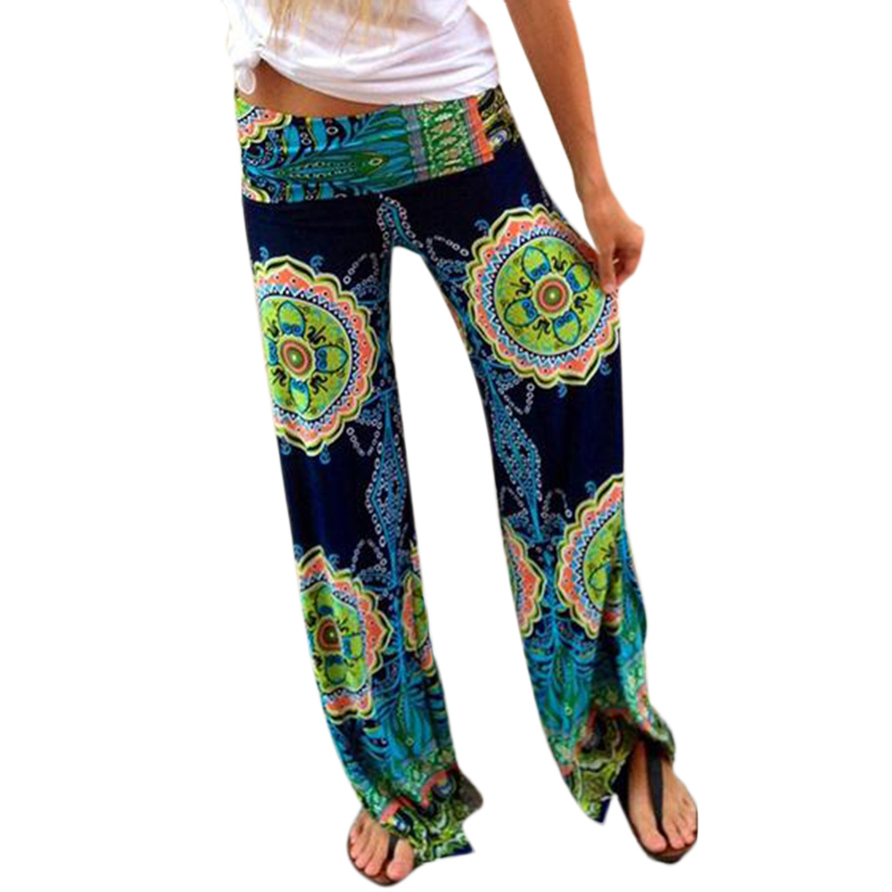 New Women Lady Casual Floral Elastic Yoga Summer Pants