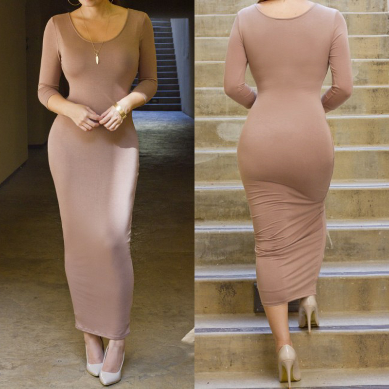 New Women's Ladies Summer Bodycon Long Sleeve Maxi Evening Party Dress