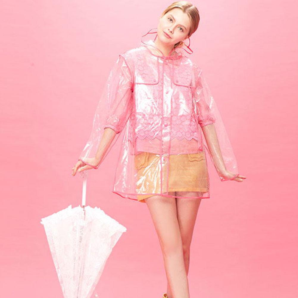 women girls men transparent hoodie clear rainwear runway pvc raincoat rain coat ebay. Black Bedroom Furniture Sets. Home Design Ideas