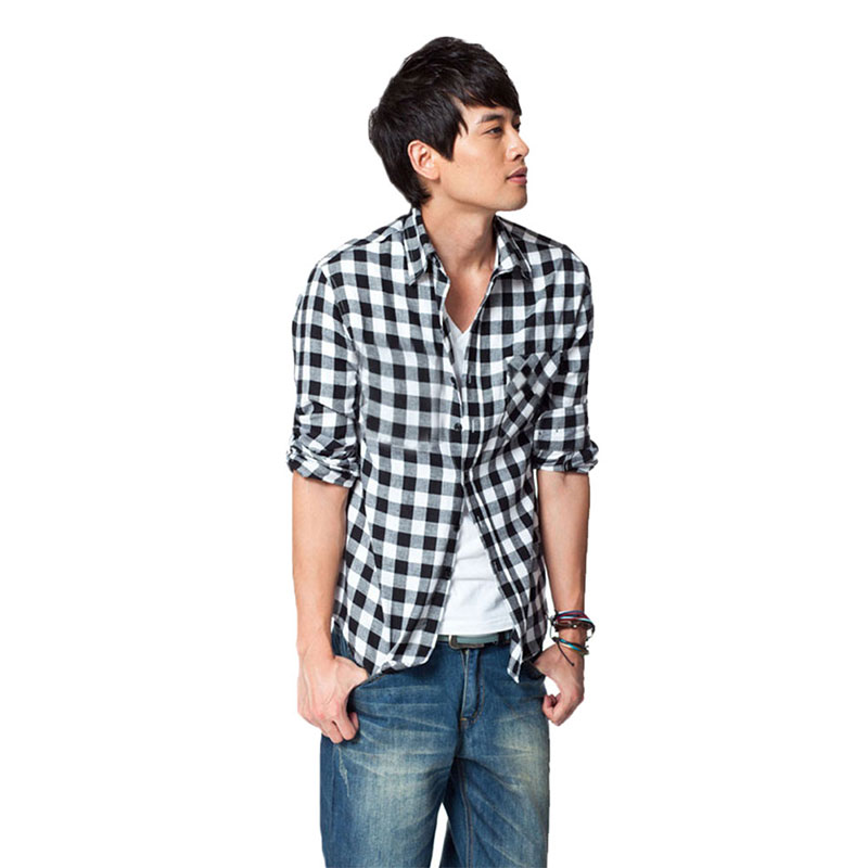 Men checker button down tartan cardigan stand collar top for Top mens button down shirts