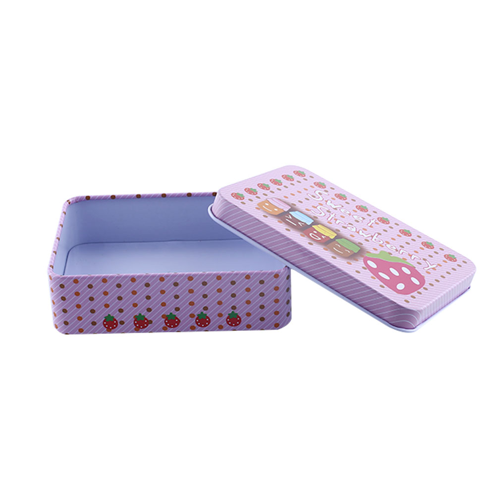 Mini tin metal container small rectangle lovely jewelry for Small tin containers