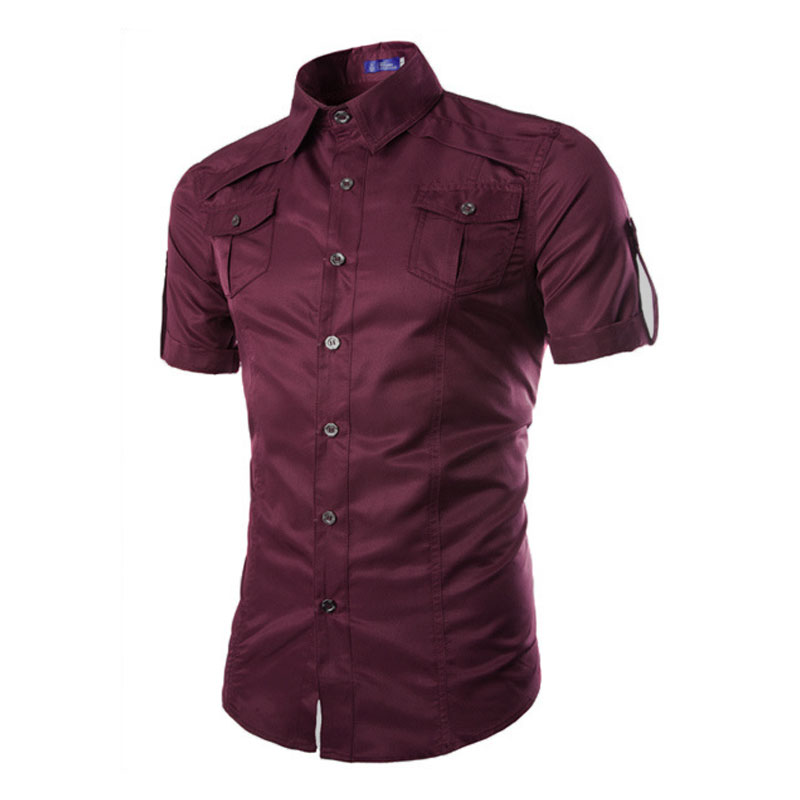Men 39 s pockets lapel button down short sleeve top blouse for Best casual button down shirts