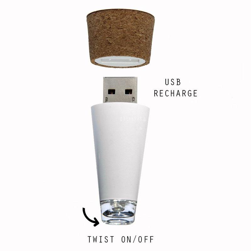 Cork Shaped LED Empty Wine Bottle Stopper Light USB