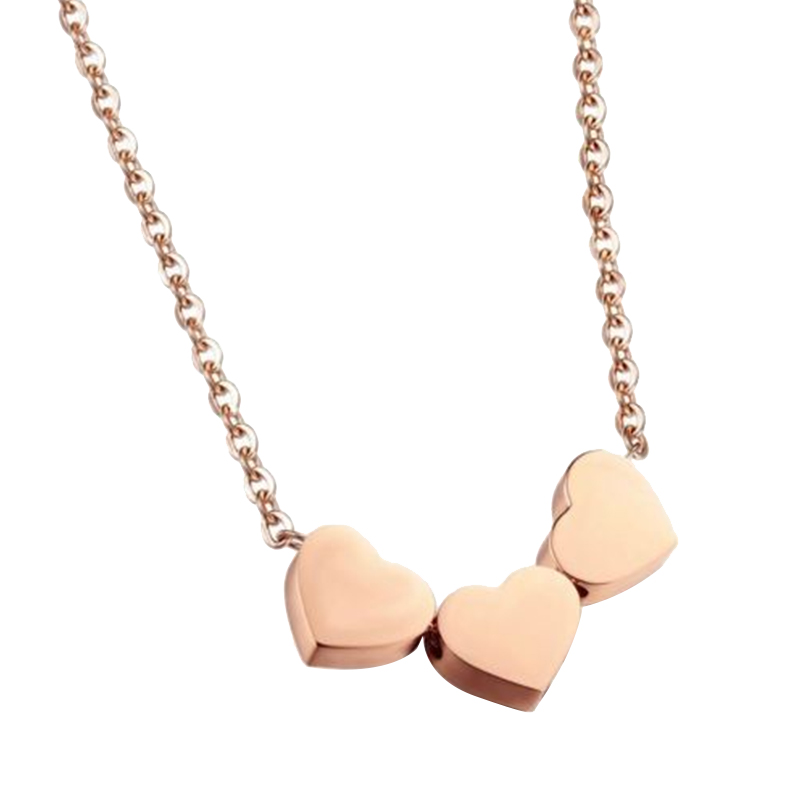 8F62-Fashion-Lady-Accessories-Three-Heart-Pendant-Necklace-Multicolor-Gifts